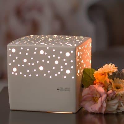 Lampe Padova Quadrat 23cm weiß creme