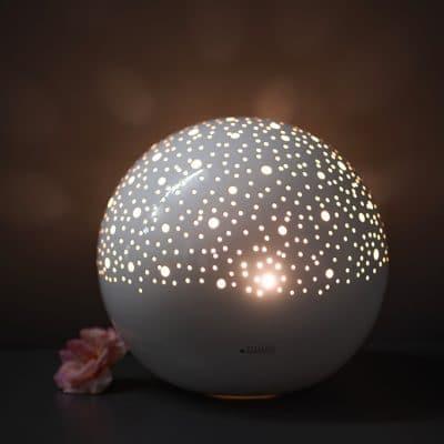 Lampe Padova rund weiß creme