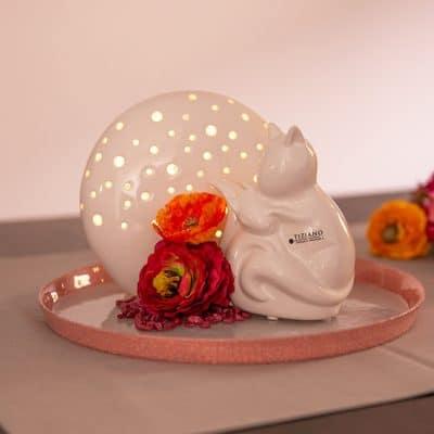 Dekoset Teller Rosewood rosa mit Mendini und Herbstfiguren