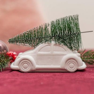 Valentino Deko Christmas Car mit Baum weiß matt