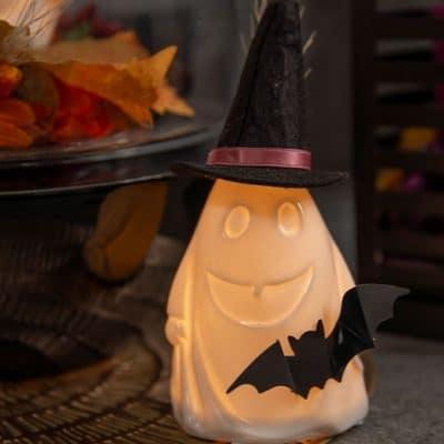 Dekoset Gespenst Gustav LED Porzellan mit Fledermaus