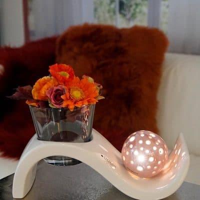 Dekoset Windlicht Mondial mit Padova Rosa und Herbstdeko