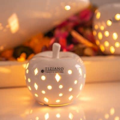 Deko Apfel Nerone LED weiß creme